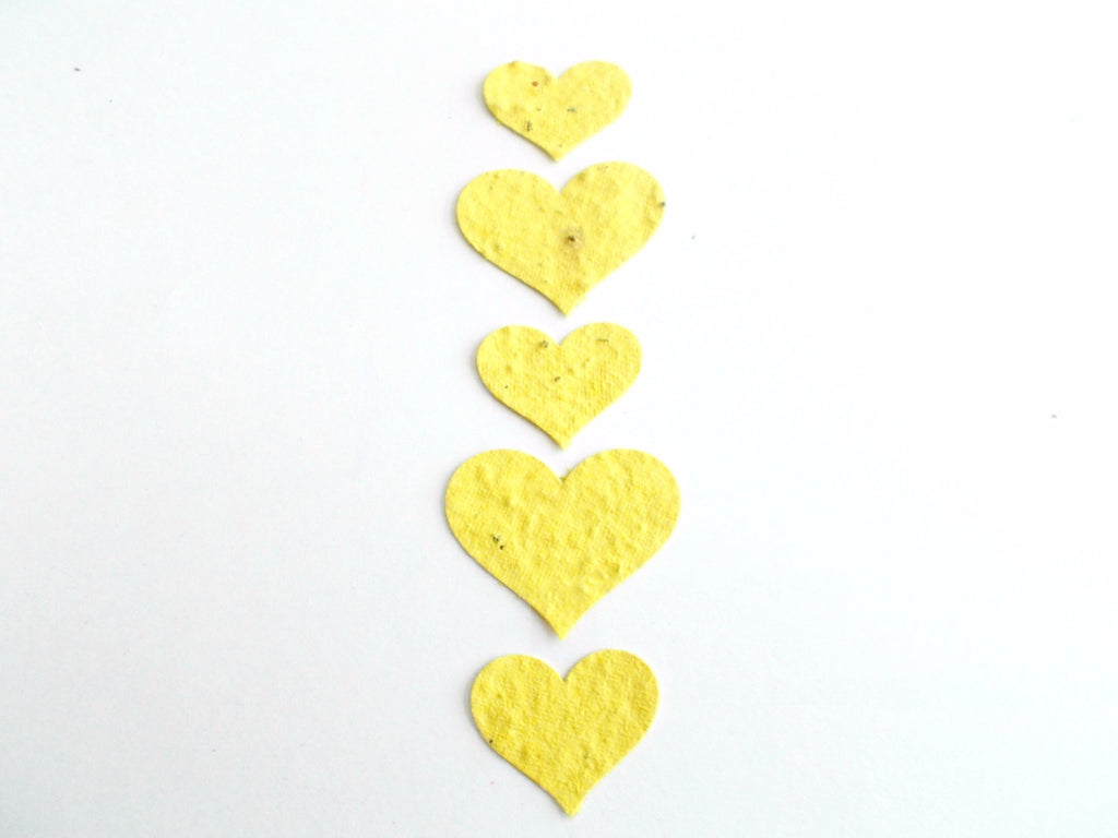 Lemon Yellow Seeded Paper Hearts
