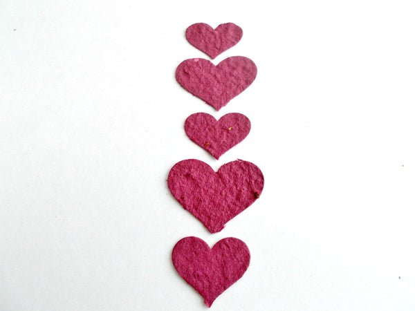 Burgundy Plantable Paper Hearts  - Seeded  Paper Embedded With Wildflower Seeds - Memorial Hearts