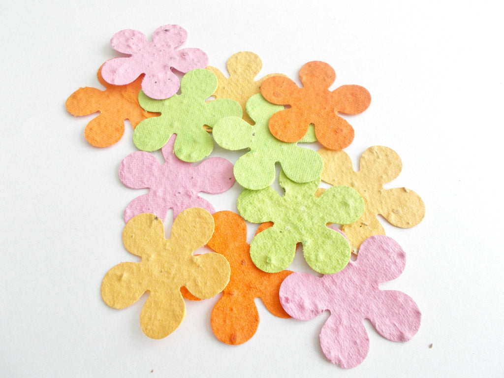50 Large Eco Friendly Plantable Paper Tropical Hibiscus Flowers - Hawaiian Luau Party Favors - Pink, Lime Green, Tangerine, Golden Yellow