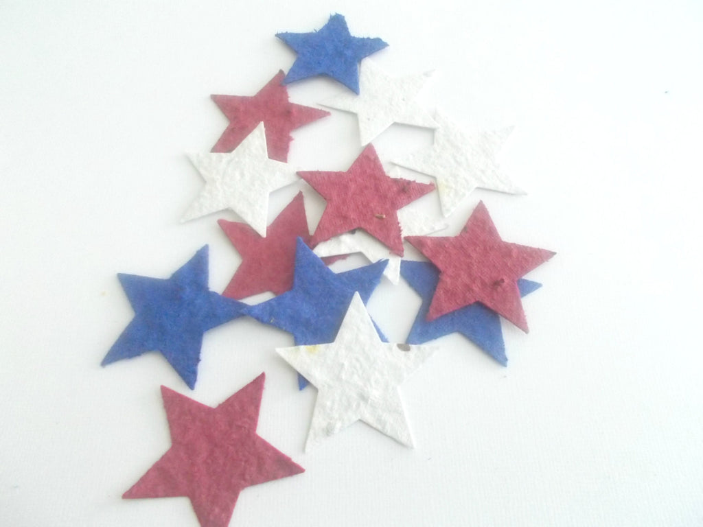 Plantable Paper Stars - Patriotic Party and Memorial Service - Red, White and Blue Nautical Stars