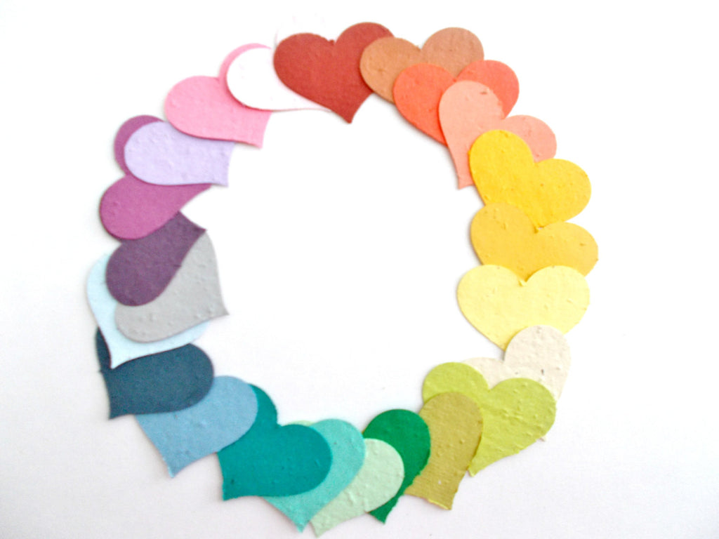 Rainbow Sample Color Set of 27  Seeded Paper Hearts - Eco Friendly Plantable Paper Hearts for Wedding, Shower and Party Decor