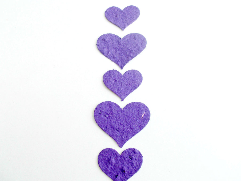 Violet Purple Plantable Paper Memorial Hearts  - Eco Friendly non-GMO seeds - Mix of 100 Large and Small Hearts