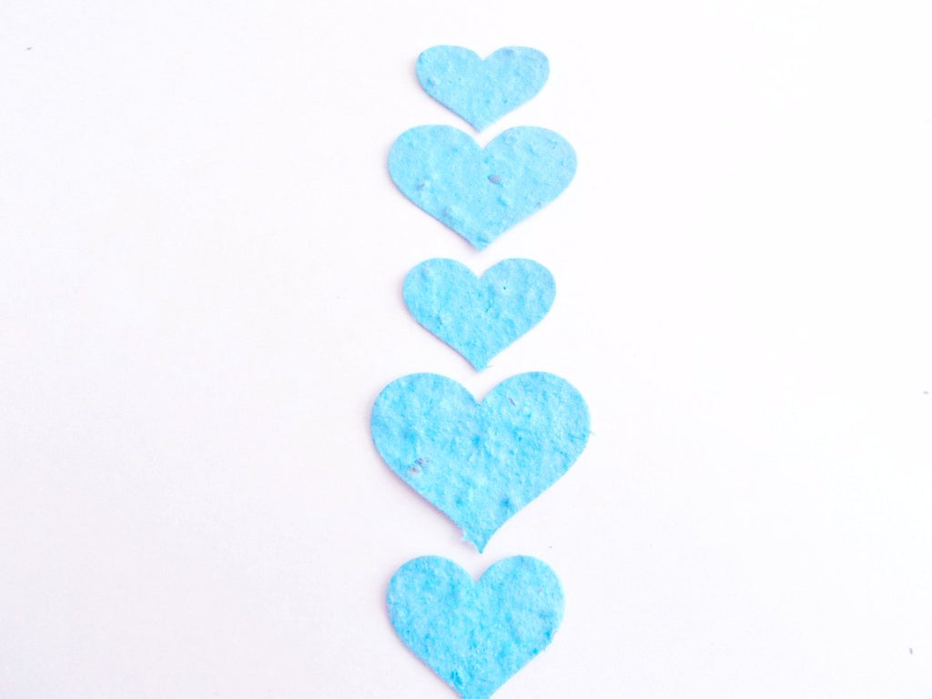 Eco Friendly Turquoise Plantable Paper Heart Confetti  - Wedding, Shower and Party Decoration - Mix of 100 Large and Small  Hearts