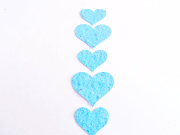 Turquoise Seeded Paper Hearts
