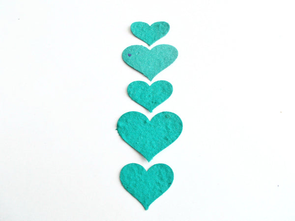 Teal Seeded Paper Hearts Embedded With Wildflower Seeds
