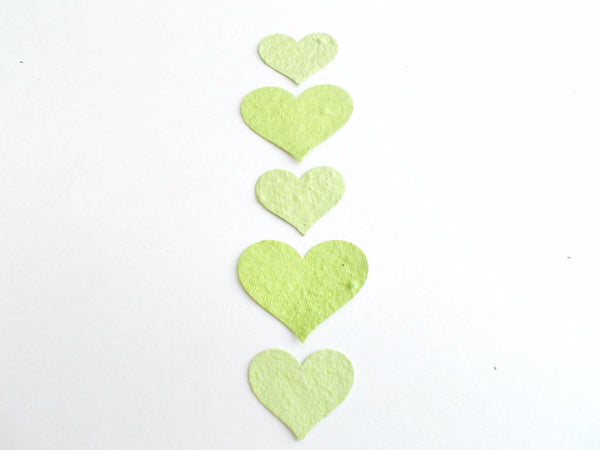 Lime Green Plantable Paper Hearts