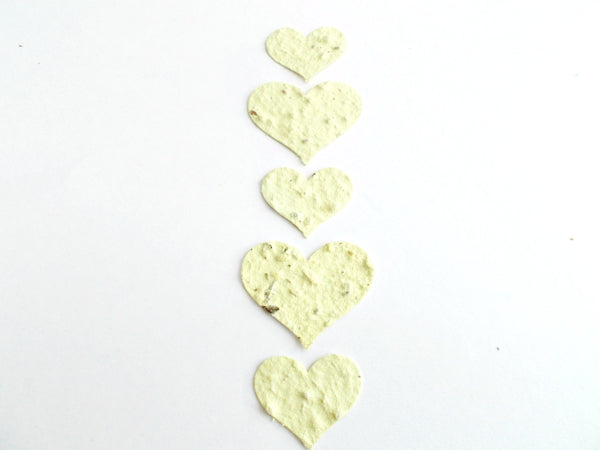 Pale Yellow Plantable Seed Paper Heart Confetti