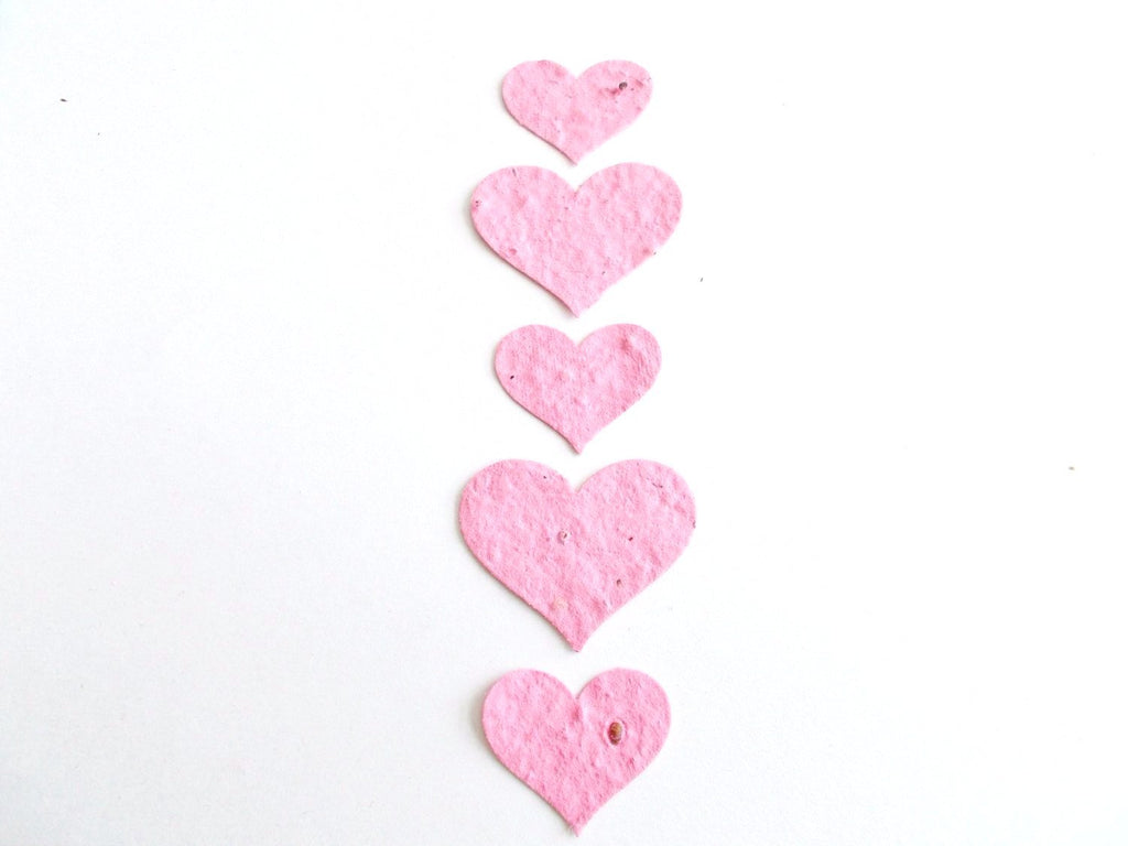 Eco Friendly Baby Pink Plantable Paper Heart Confetti  - Wedding, Shower and Party Decoration - Mix of 100 Large and Small Hearts