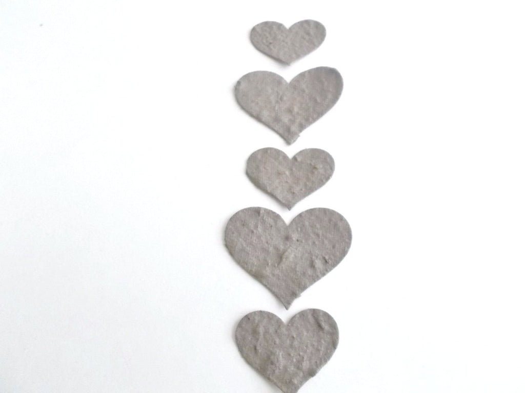 Eco Friendly Dark Gray Plantable Paper Hearts  - Wedding, Shower and Party Decoration - Mix of 100 Large and Small  Hearts