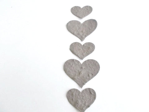Dark Gray Plantable Paper Hearts
