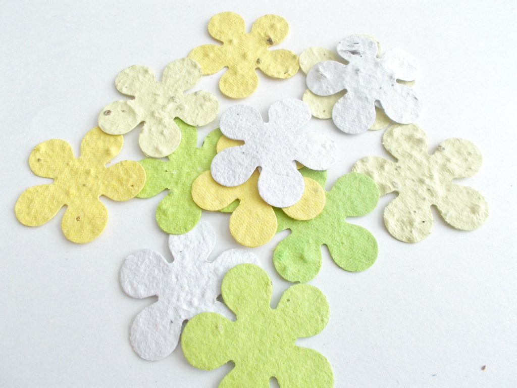 Eco Friendly Party Decor  - Plantable Paper Tropical Flowers - Sunshine Mix - Yellows, Green and White