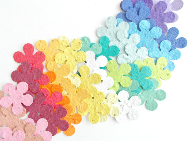 Tropical Flower Shapes Made With Seeded Paper - Your Choice of Colors