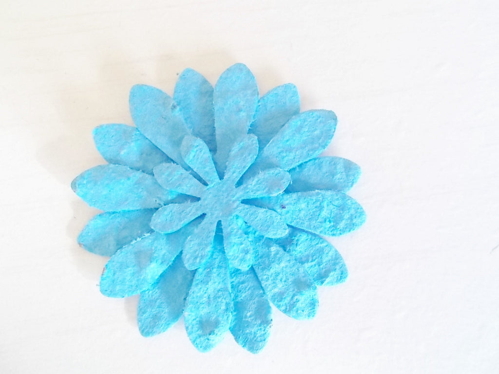 Turquoise Wedding Flower Favors, Set of 12, Eco Friendly Paper Embedded With Wildflower Seeds