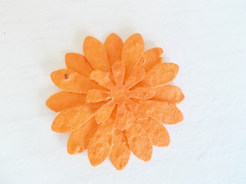 Tangerine Orange Daisy Flower Favors, Set of 12, Eco Friendly Paper Embedded With Wildflower Seeds