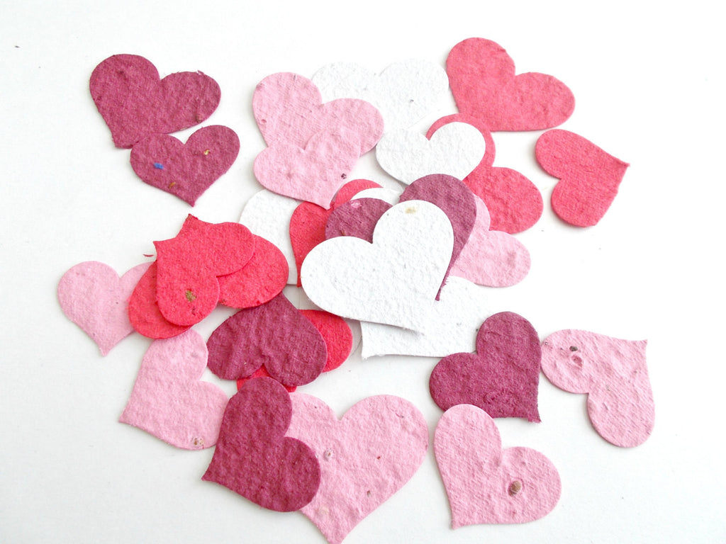 Eco Friendly Plantable Paper Heart Confetti  - Wedding and Party Decor - Mix of 100 Large and Small Hearts - Burgundy, Pink, Red and White
