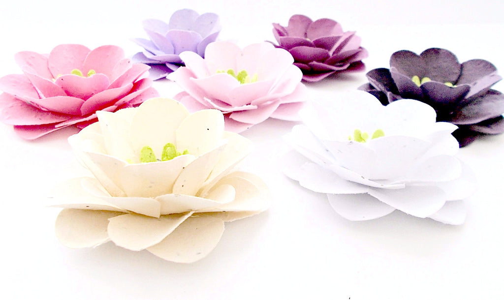 Large Plantable Paper Flowers - Roses - Eco Friendly Seeded Paper Embedded With Flower Seeds - Plant and Grow!