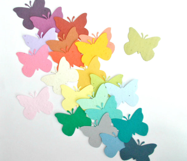 25 Seed Paper Butterfly Die Cut Outs - Your Choice of Colors