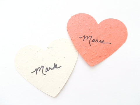 Extra Large Paper Heart Place Cards - Plantable Paper Heart Wedding Escort Cards - Eco Friendly Decorations