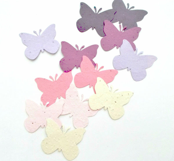 Large Seeded Paper Butterflies in Pink and Purple Mix