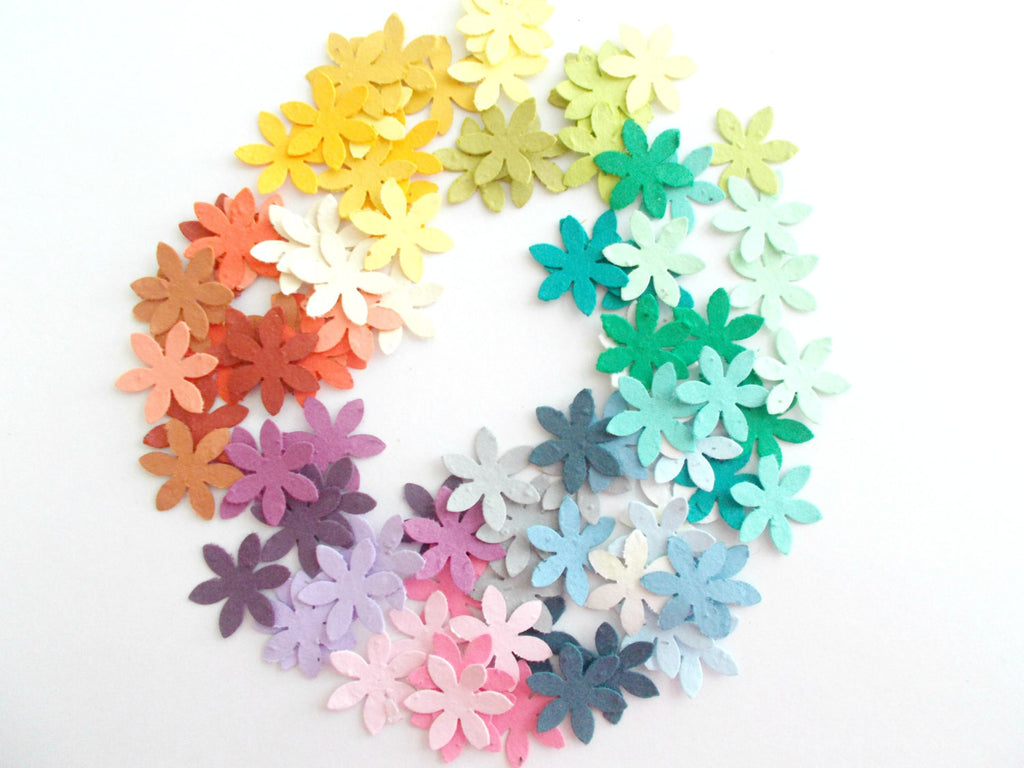 Plantable Paper Flower Confetti - Eco Friendly Seeded Paper Daisy Flowers in Your Choice of Colors