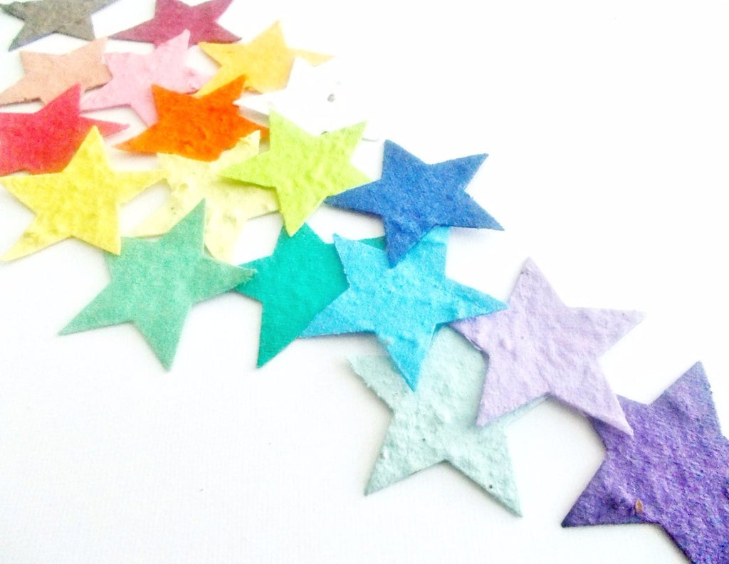 Plantable Paper Star Confetti - 25 Eco Friendly Paper Embedded With Wildflower Seeds - Your Choice of Color
