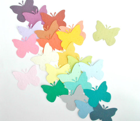 Large Butterfly Shaped Die Cuts Made From Plantable Paper - Your Choice of Colors