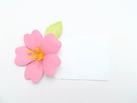 Tropical Hibiscus Flower Place Cards - Escort Cards Made With Plantable Seed Paper