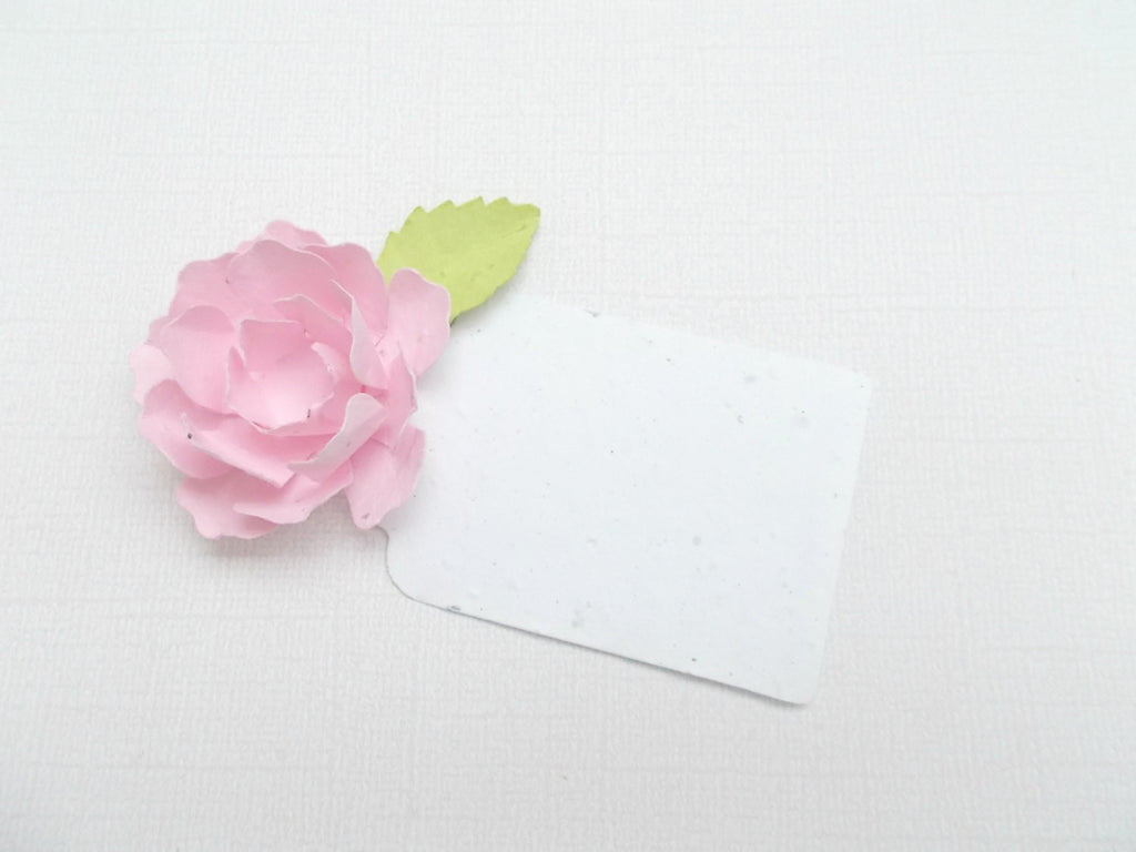 50 Pink Flower Place Cards - Plantable Seeded Paper Peonies - Made With Paper Embedded With Wildflower Seeds