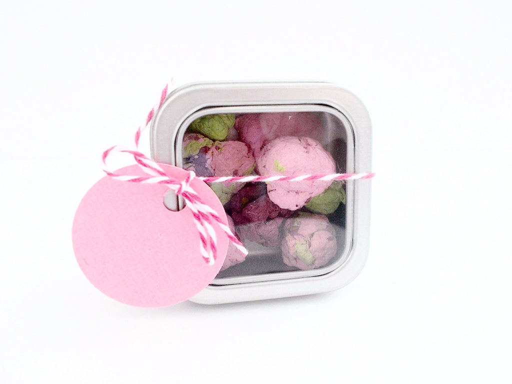Tin Favor Boxes Filled With Seed Bombs -100 Unique Escort Cards
