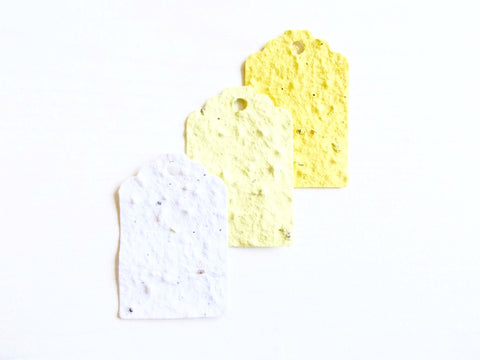 Yellow Ombre Plantable Seed Paper Gift Tags - Set of 12