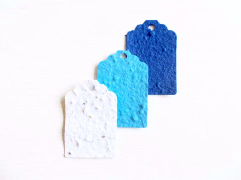Blue Ombre Set of 12 Gift Tags Made With Plantable Seed Paper
