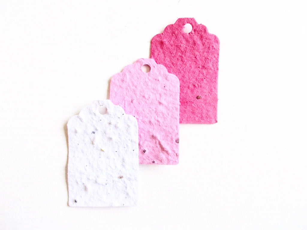 Red White and Pink Seeded Paper Gift Tags