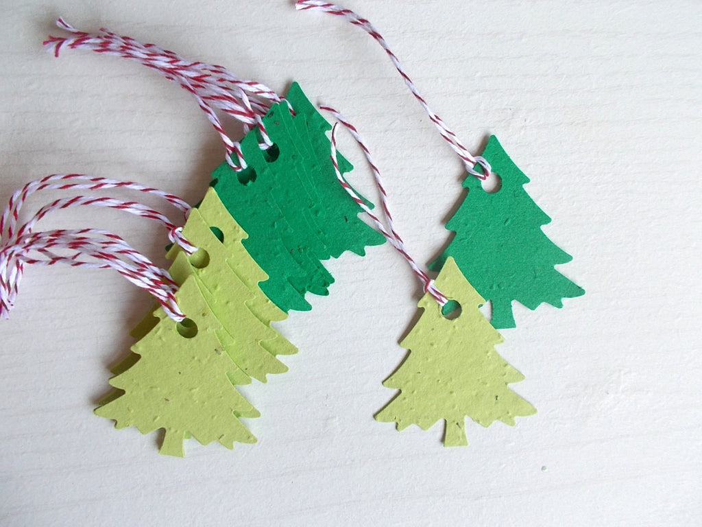 Set of 12 Green Pine Tree Tags Made With Plantable Paper- Plant and Grow After Use!