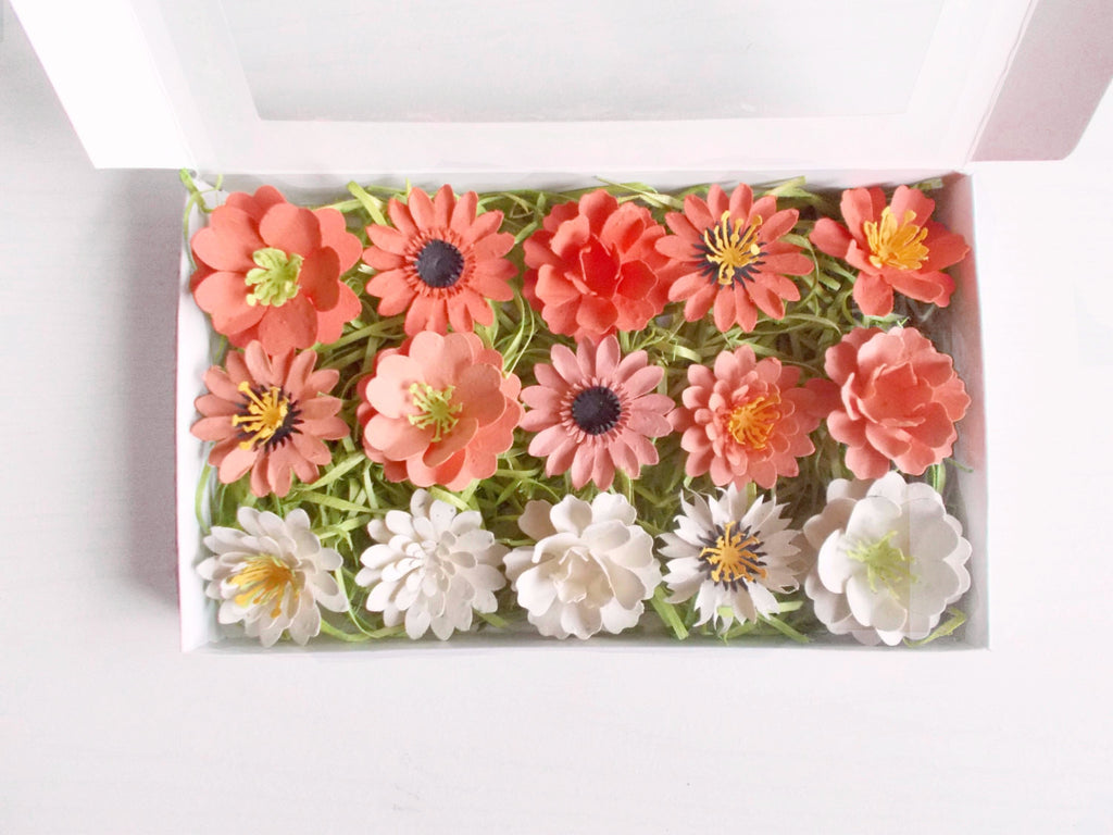 Orange Seeded Paper Flowers Garden Lover Gift Set