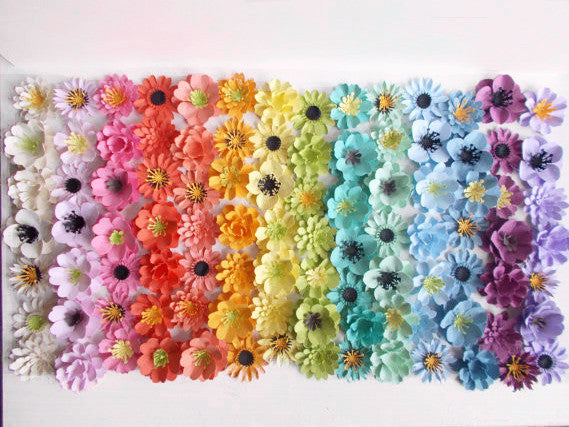 Rainbow Assortment of Plantable Paper Flowers Made With Wildflower Seeds