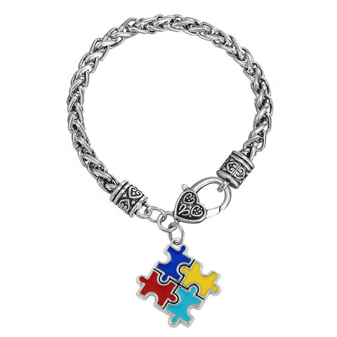 Support Autism Puzzle Pieces Charms Bracelet