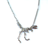 Tyrannosaurus Rex Skeleton Dinosaur Pendant Gold or Silver Chain Necklace