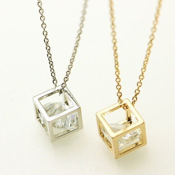 Cube Necklace Zircona in Silver or Gold