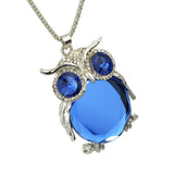 Owl Pendant Necklaces Long Silver Chain with Big Crystal and Rhinestones