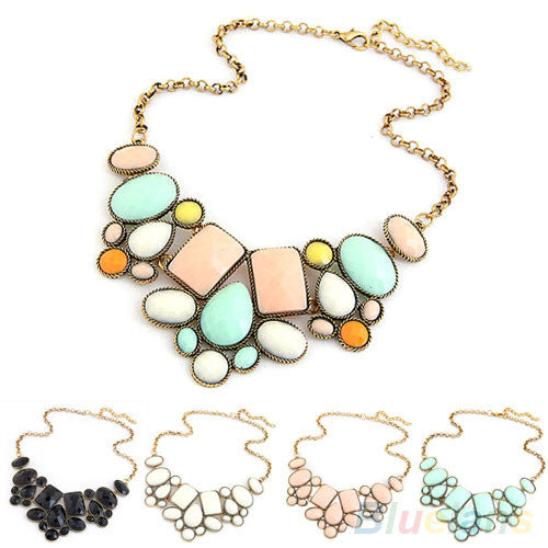 Bubble Pendant Collar Chain Statement Necklace