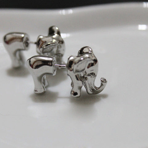 3D Elephant Stud Earrings