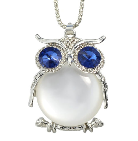 Owl pendant necklaces long silver chain with big crystal and owl pendant necklaces long silver chain with big crystal and rhinestones aloadofball Image collections