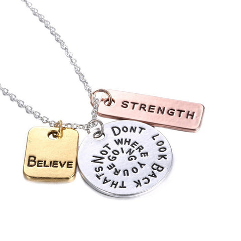 Inspirational Believe and Positive Energy Hand Stamped Necklace