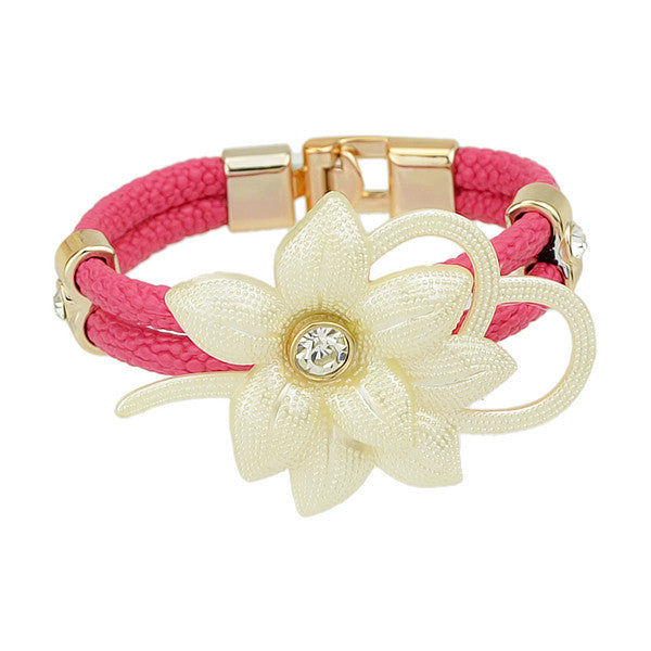Colorful Leather And Rhinestone Flowers Bracelets