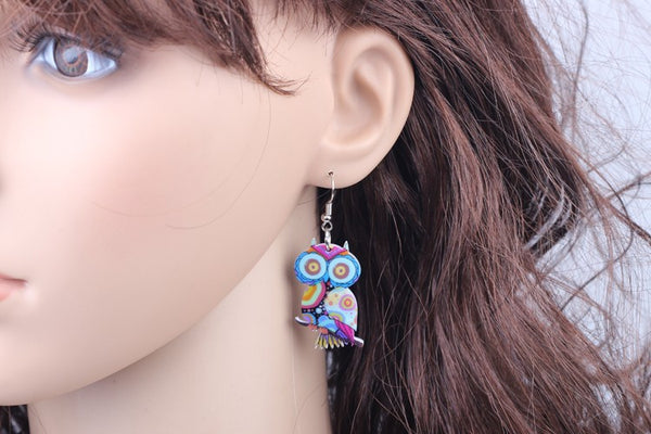 Happy Owl drop earrings acrylic