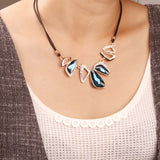 Leather chain necklace vintage geometry water drop crystal pendant
