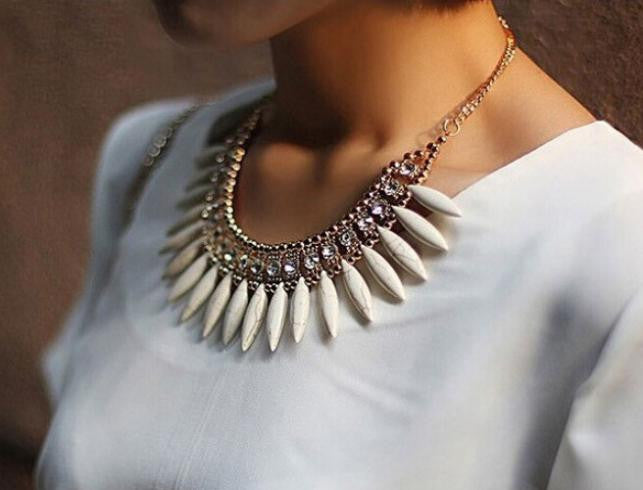 Chunky Crystal BOHO Pendant Chain Statement Bib Necklace