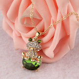 Austrian Crystal Fun Frog Pendant Unique Necklace