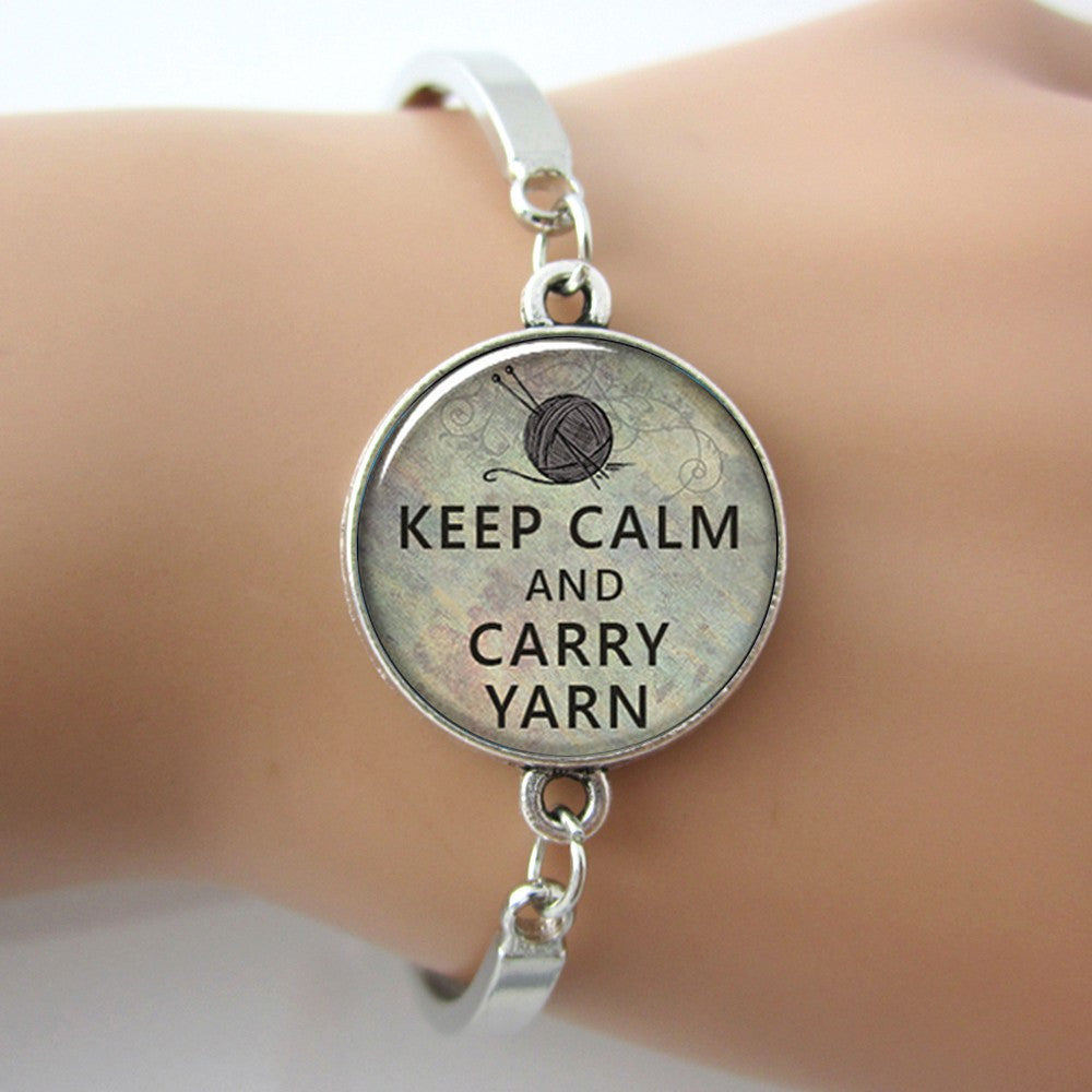 Keep Calm and Carry Yarn Knitters Charm Bracelet Bangle