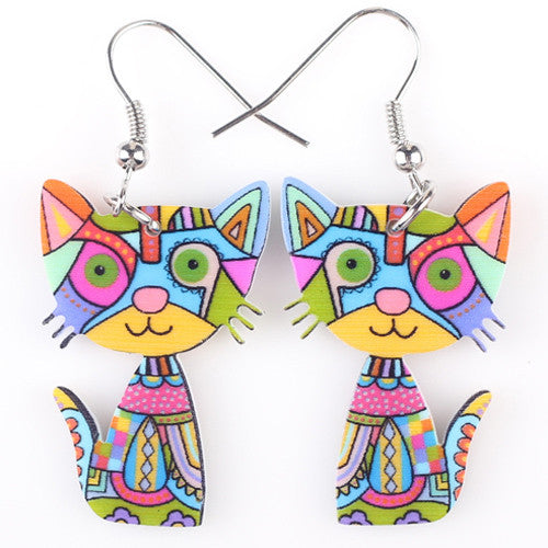 Happy Cat Acrylic Long Dangle Earrings